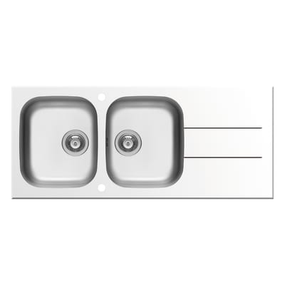 Lavello incasso Concerto bianco L 116 x P  50 cm 2 vasche + gocciolatoio