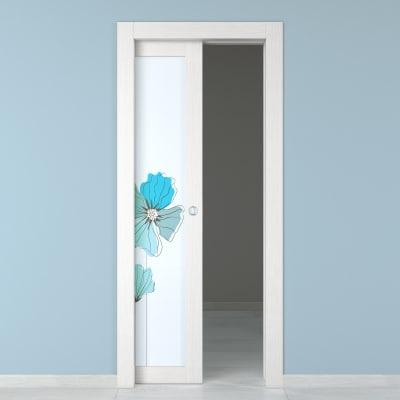 Porta da interno scorrevole Eden larice bianco 70 x H 210 cm sx