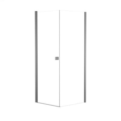 Doccia con porta battente e lato fisso Neo 81 - 83 x 77 - 79 cm, H 200 cm vetro temperato 6 mm trasparente/silver