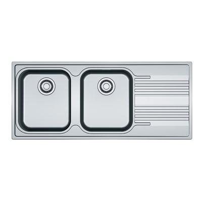 Lavello incasso Smart L 116 x P  50 cm 2 vasche SX + gocciolatoio