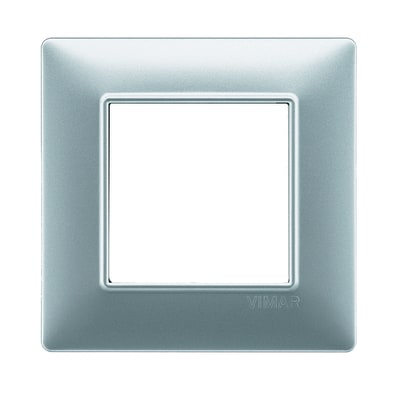 Placca 2 moduli Vimar Plana argento opaco