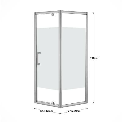 Doccia con porta battente e lato fisso Quad 67.5 - 69 x 77.5 - 79 cm, H 190 cm cristallo 6 mm serigrafato/silver