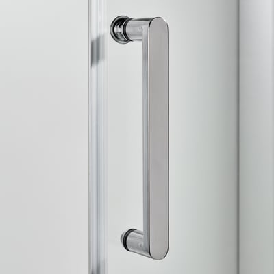Doccia con porta scorrevole e lato fisso Quad 117.5 - 120,5 x 77.5 - 79 cm, H 190 cm cristallo 6 mm trasparente/silver
