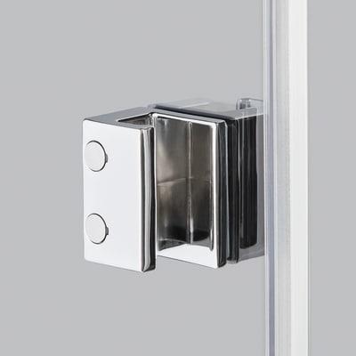 Doccia con porta battente e lato fisso Neo 79 - 81 x 77 - 79 cm, H 200 cm vetro temperato 6 mm serigrafato/bianco opaco