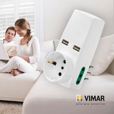 Adattatore 0P00332.B USB 10A, Vimar bianco