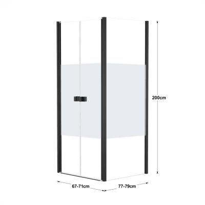 Doccia con porta saloon e lato fisso Neo 67 - 71 x 77 - 79 cm, H 200 cm vetro temperato 6 mm serigrafato/nero