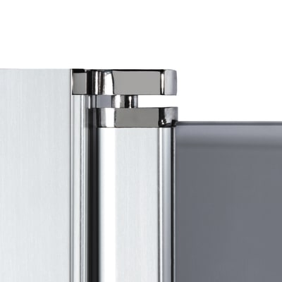 Doccia con porta battente e lato fisso Neo 71 - 73 x 77 - 79 cm, H 200 cm vetro temperato 6 mm fumè/silver