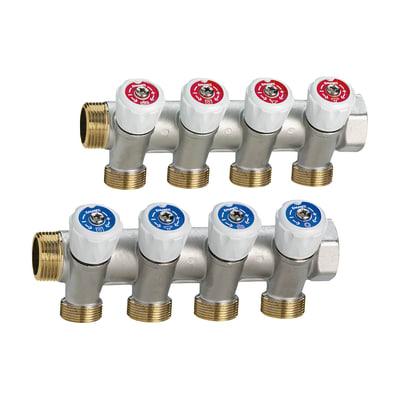 """Collettore con rubinetti 4 vie M24X19 ingresso 3/4"""""""