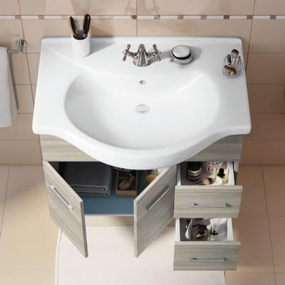 Mobile bagno Ginevra rovere grigio L 81 cm