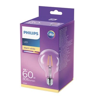 Lampadina LED Philips E27 =60W globo luce calda 270°