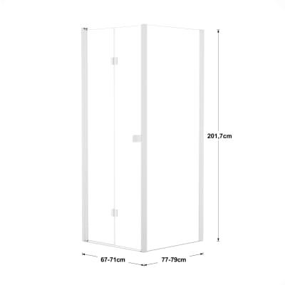Doccia con porta pieghevole e lato fisso Neo 67 - 71 x 77 - 79 cm, H 201,7 cm vetro temperato 6 mm trasparente/bianco opaco