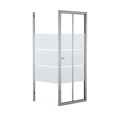 Doccia con porta pieghevole e lato fisso Dado 67 - 70 x 77.5 - 79 cm, H 185 cm cristallo 5 mm serigrafato/silver