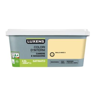 Idropittura superlavabile Smacchiabile Giallo Anice 3 - 2,5 L Luxens