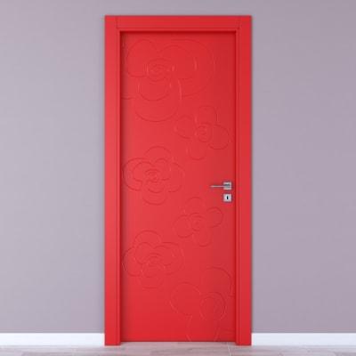 Porta da interno battente Flower red rosso 60 x H 210 cm sx