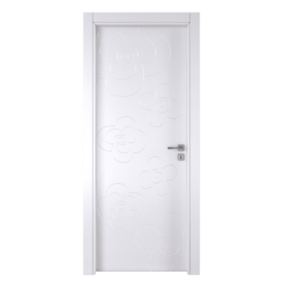 Porta da interno battente Flower white bianco 60 x H 210 cm sx